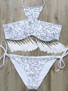 Tassels Halter Printed String Bikini - White