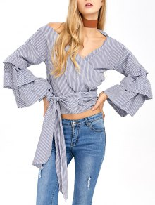 Layered Sleeve Striped Wrap Blouse