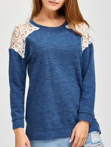 Lace Spliced Slit Sweater - Blue S