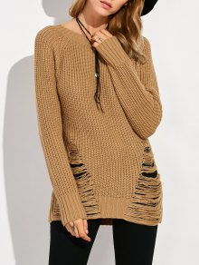 Ripped Chunky Crew Neck Sweater