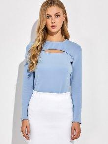Long Sleeves Cutout Tee - Blue Gray Xl