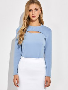 Long Sleeves Cutout Tee - Blue Gray M