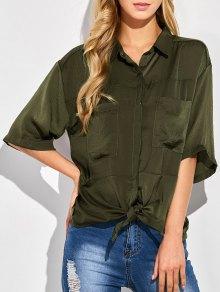 Front Knot Pocket Shirt - Green Xl
