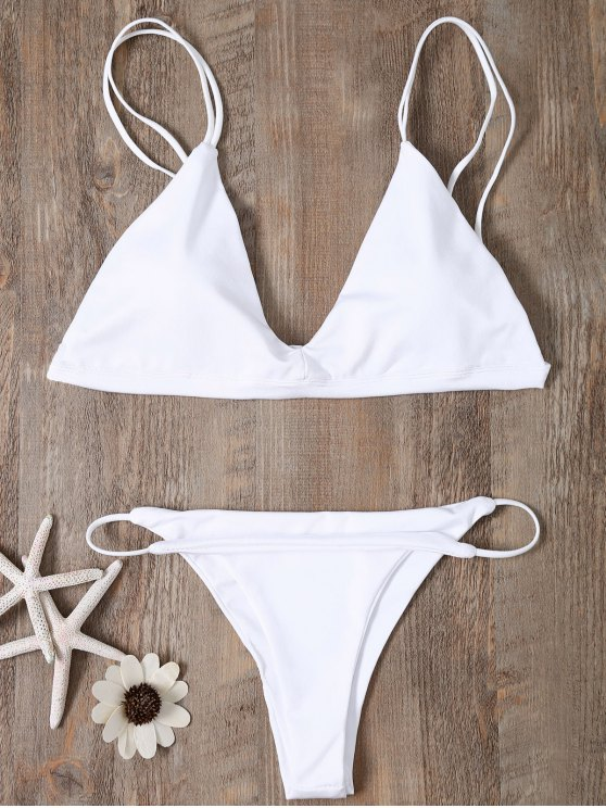 shops Low Waisted Spaghetti Straps Bikini Swimwear - WHITE XL