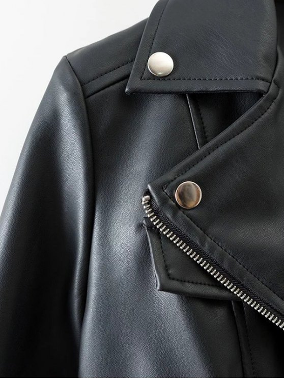 Lapel Collar Fitted Biker Jacket - BLACK L Mobile