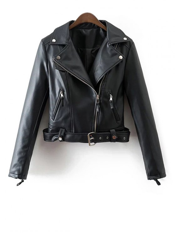 Lapel Collar Fitted Biker Jacket - BLACK M Mobile