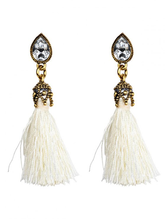 outfits Rhinestone Tassel Water Drop Earrings - WHITE