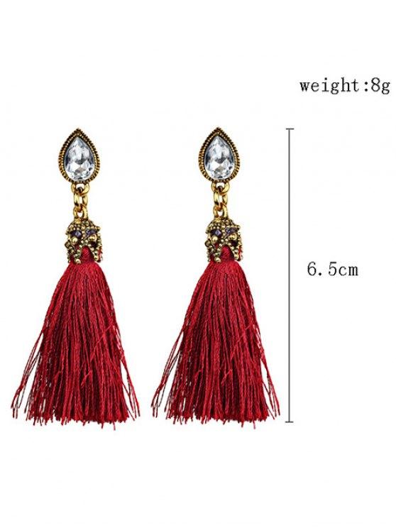 Rhinestone Tassel Water Drop Earrings - RED  Mobile