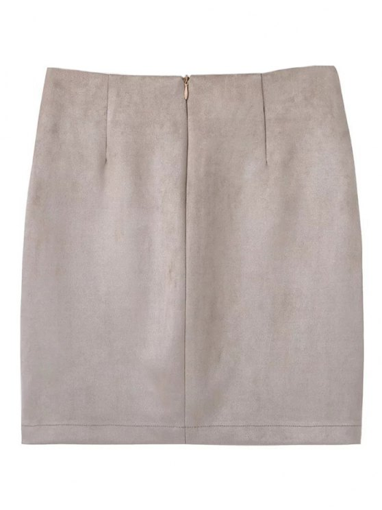 Lace Up Faux Suede Mini Skirt - OFF-WHITE M Mobile