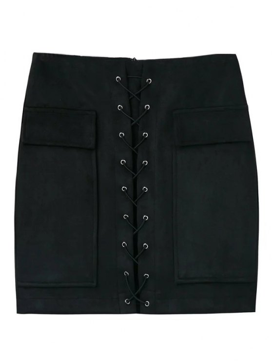 Lace Up Faux Suede Mini Skirt - BLACK S Mobile