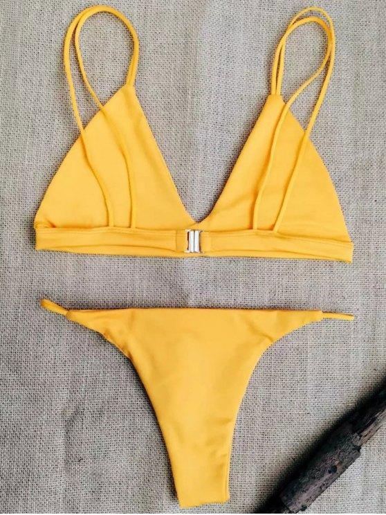 Low Waisted Spaghetti Straps Bikini Set - SWEET ORANGE M Mobile