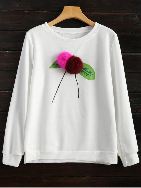 Pom Pom Sweatshirt - WHITE L Mobile