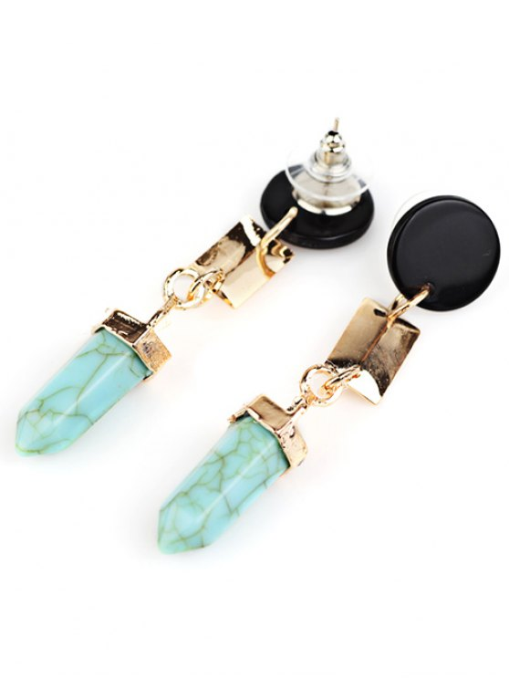 Geometric Artifical Turquoise Dangle Earrings - LIGHT GREEN  Mobile