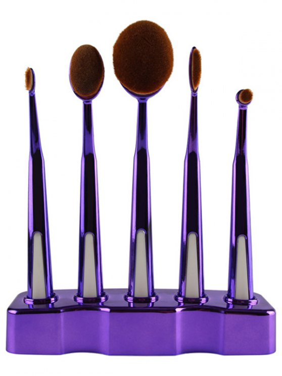 5 Pcs Nylon Makeup Brushes Set with Brush Stand -   Mobile