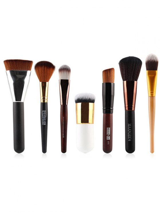 affordable 7 Pcs Nylon Face Makeup Brushes Set - BLACK