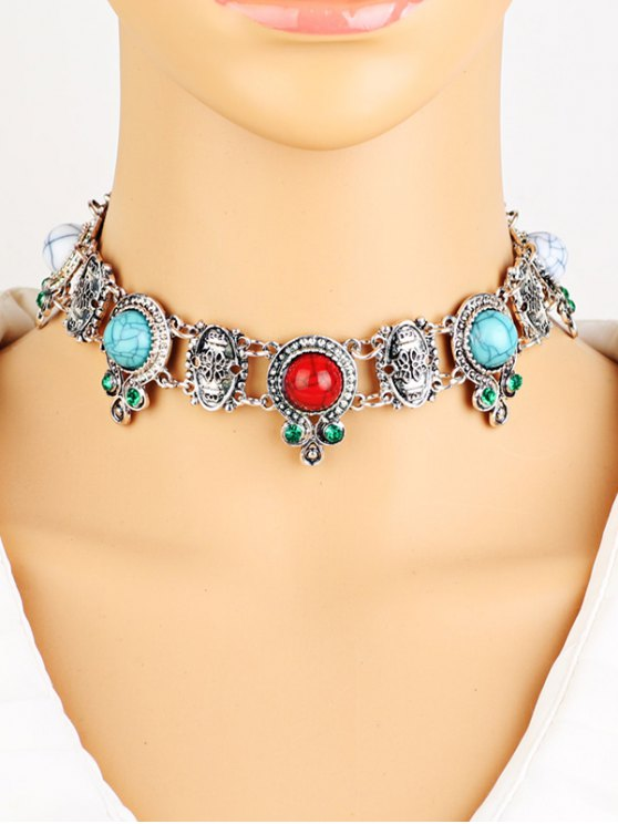 Rhinestone Faux Turquoise Necklace - SILVER  Mobile