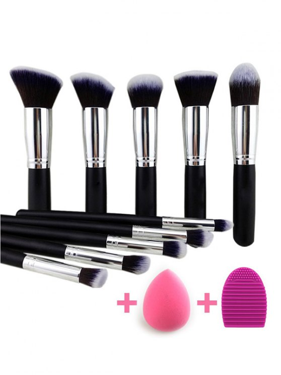 Makeup Brushes Set + Makeup Sponge + Brush Egg - BLACK  Mobile