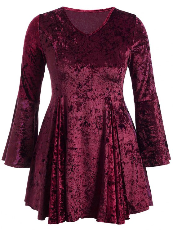 shop Bell Sleeve V Neck Fit and Flare Velvet Dress - BURGUNDY 2XL