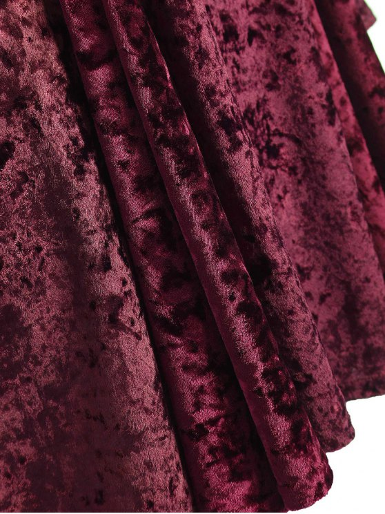 Bell Sleeve V Neck Fit and Flare Velvet Dress - BURGUNDY 3XL Mobile