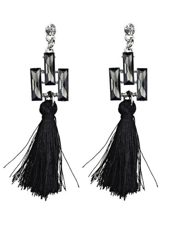 Tassel Faux Crystal Dangle Earrings - BLACK  Mobile