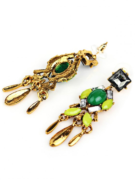Geometric Faux Emerald Tassel Drop Earrings -   Mobile