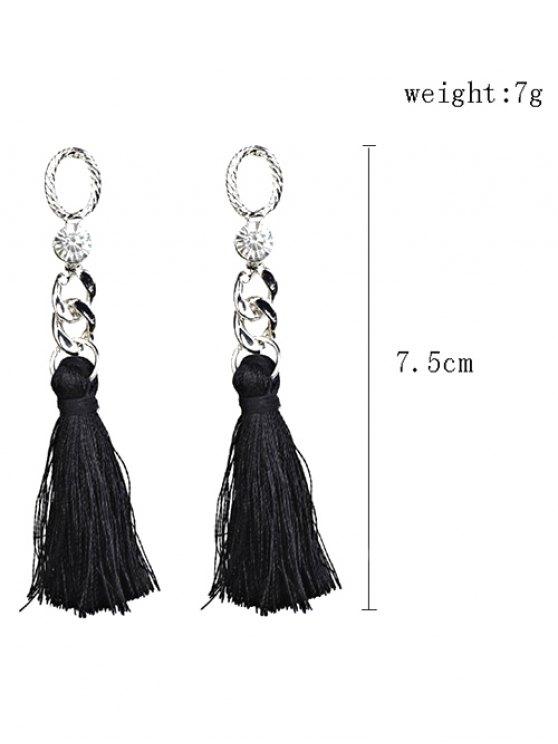Rhinestone Tassel Dangle Earrings - BLACK  Mobile