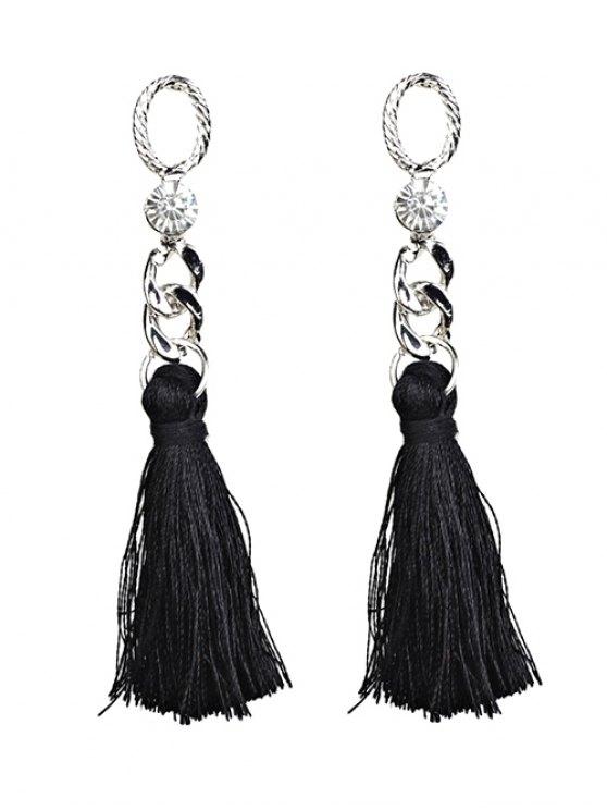 fancy Rhinestone Tassel Dangle Earrings - BLACK