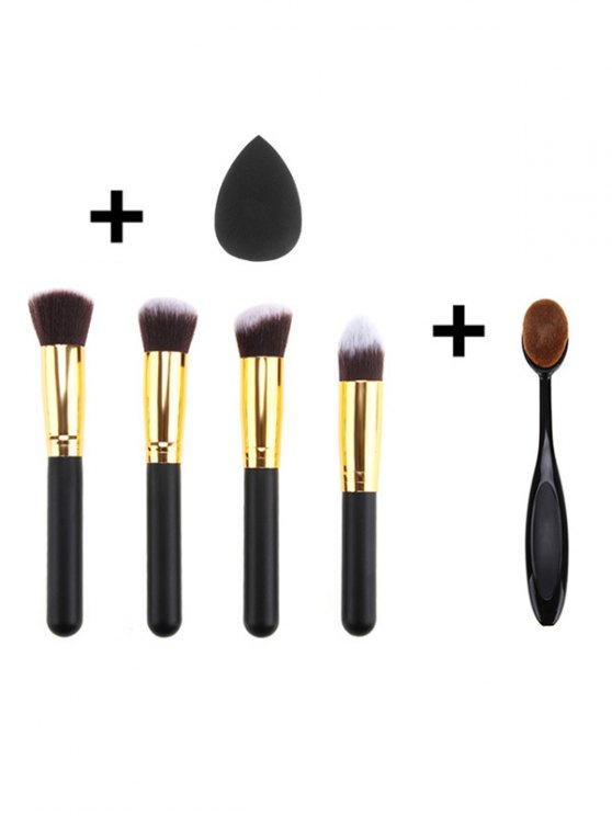 5 Pcs Makeup Brushes Set and Makeup Sponge - BLACK  Mobile