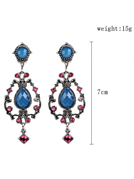 Rhinestone Water Drop Hollowed Earrings - BLUE  Mobile