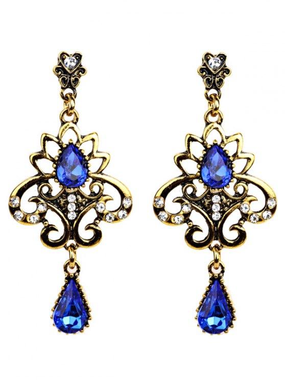 Water Drop Fake Gem Openwork Earrings - BLUE  Mobile