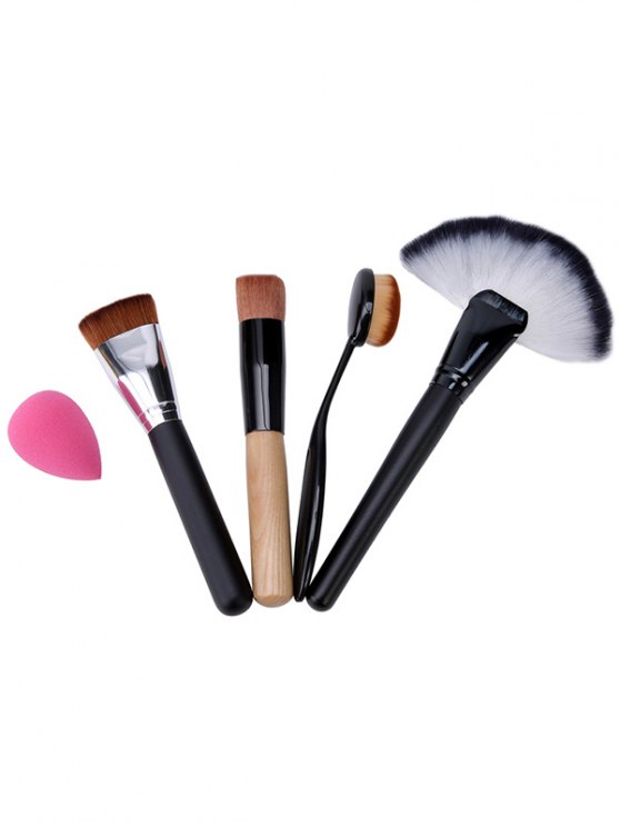 4 Pcs Makeup Brushes Set and Beauty Blender - BLACK  Mobile