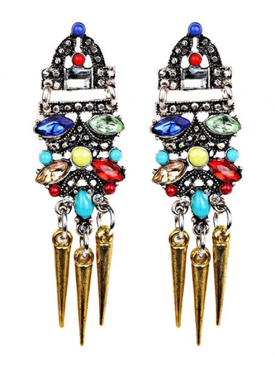 womens Faux Crystal Embellished Rivet Tassel Earrings - GOLDEN