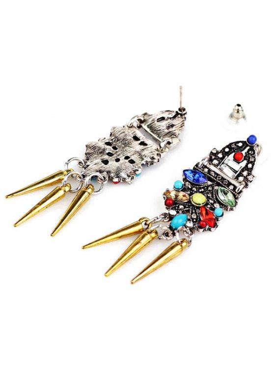 Faux Crystal Embellished Rivet Tassel Earrings - GOLDEN  Mobile