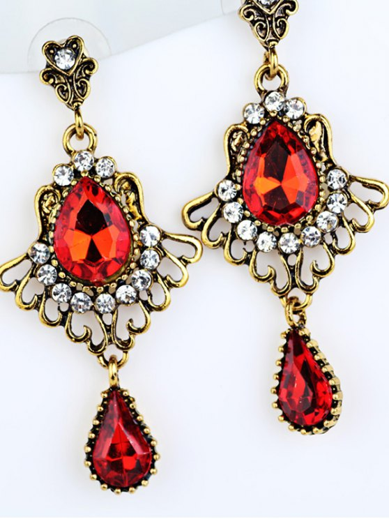 Scallop Water Drop Faux Crystal Earrings - GOLDEN  Mobile