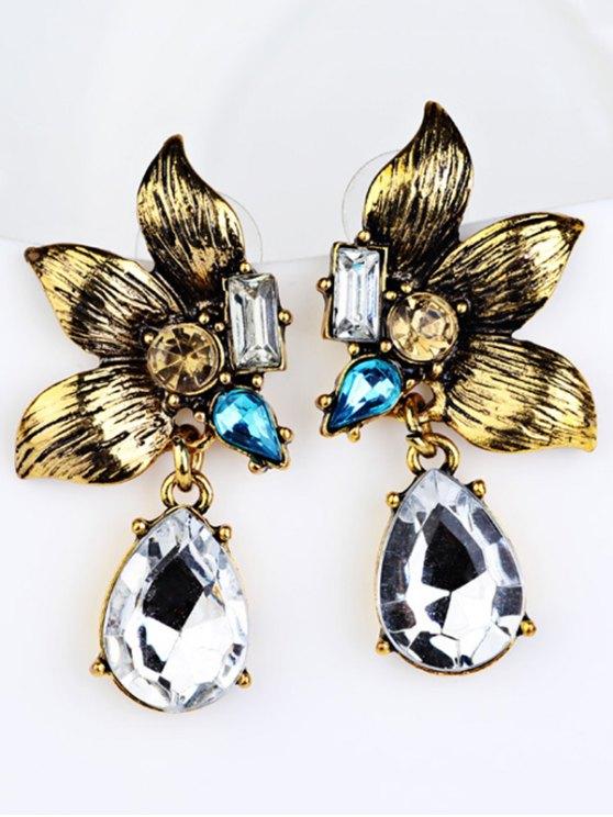 Water Drop Fake Crystal Petals Earrings -   Mobile