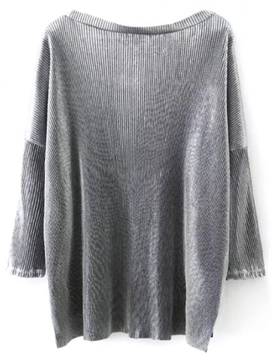 Metallic Color Dropped Shoulder Top - SILVER M Mobile