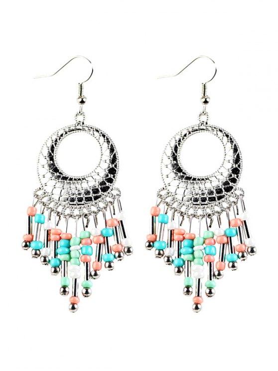 Beads Tassel Snakeskin Circle Drop Earrings - COLORFUL  Mobile