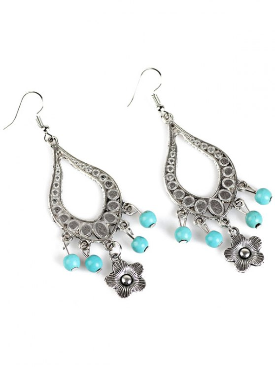 Bead Flower Hollowed Water Drop Earrings -   Mobile