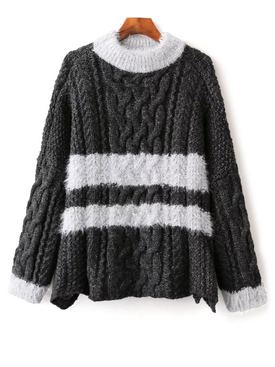 Color Block Cable Knit Sweater - DEEP GRAY ONE SIZE Mobile