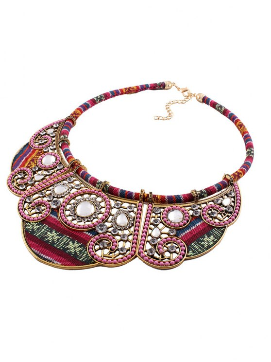 Rhinestone Floral Faux Collar Necklace -   Mobile