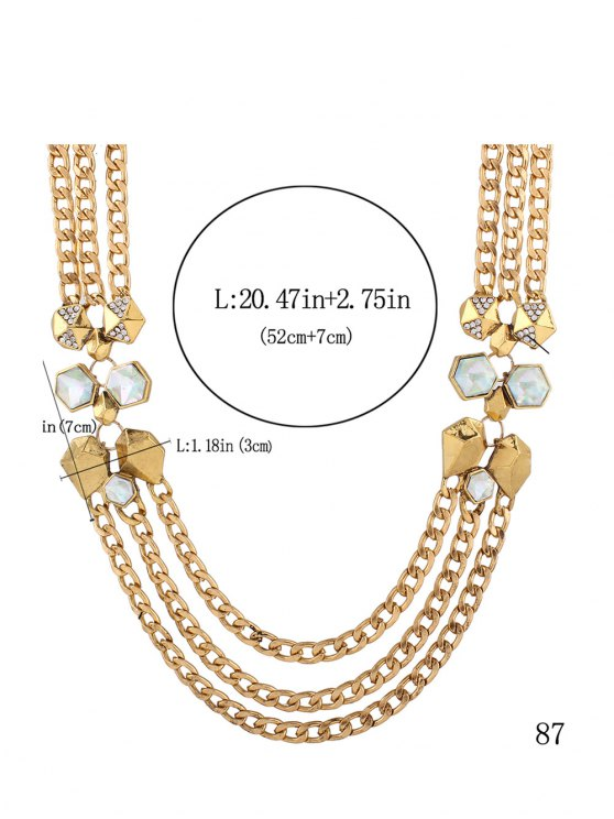 Alloy Rhinestone Geometric Chain Necklace - GOLDEN  Mobile