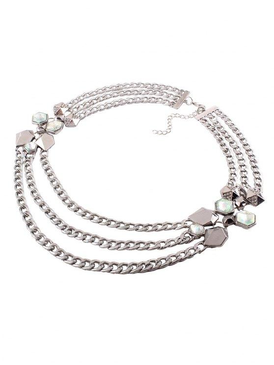 Alloy Rhinestone Geometric Chain Necklace - SILVER  Mobile