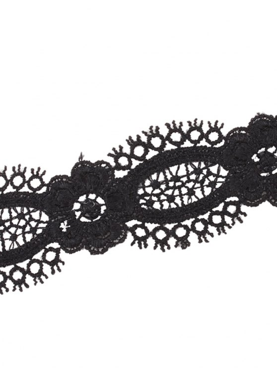 Openwork Lace Flower Choker - BLACK  Mobile