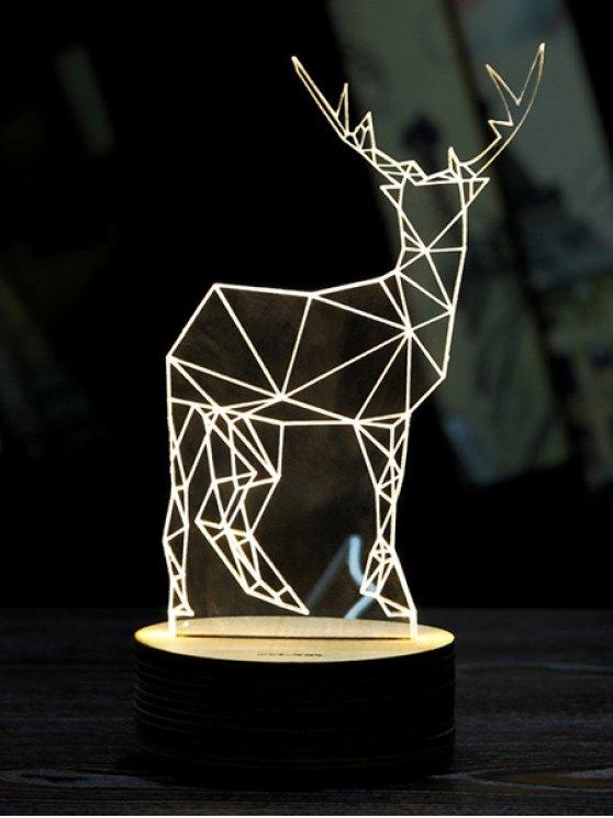 chic Merry Christmas Deer 3D LED Night Light - WHITE