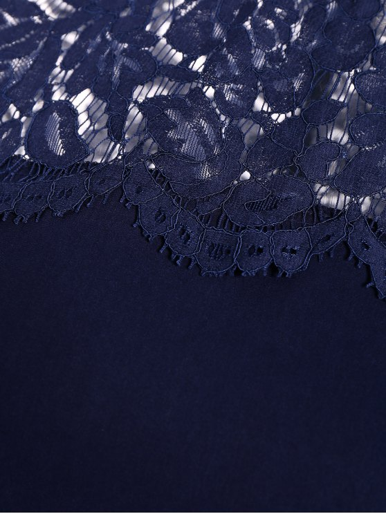Lace Panel Tee - PURPLISH BLUE 2XL Mobile