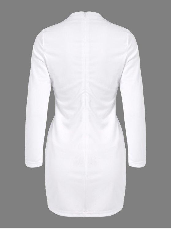Side Furcal Cut Out Bodycon Choker Dress - WHITE S Mobile