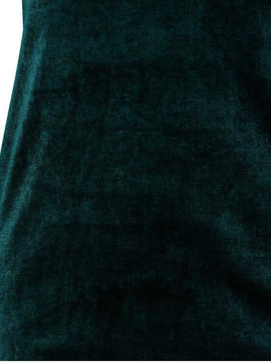 Short Sleeve Velvet Dress - BLACKISH GREEN S Mobile