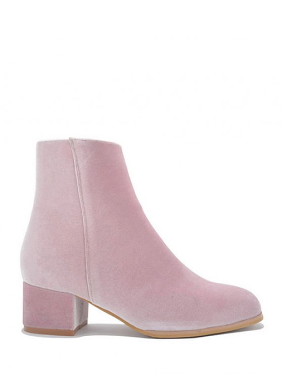 buy Round Toe Zip Chunky Heel Ankle Boots - PINK 39