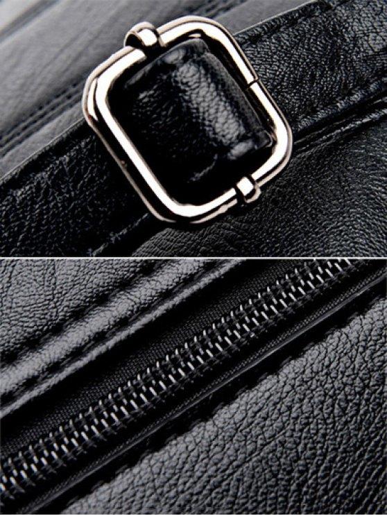 Stitching PU Leather Handbag - BLACK  Mobile