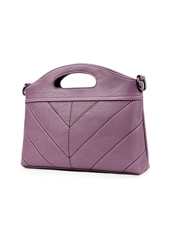 Stitching PU Leather Handbag - PURPLE  Mobile